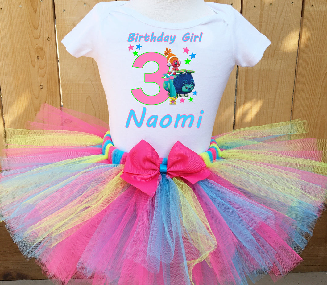 Trolls Dj Suki And Smidge Customized Birthday Tutu Outfit