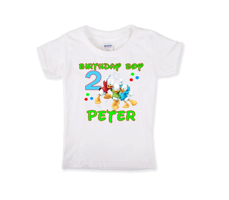 Duck Tales Louie Huey and Dewey Personalized Birthday Shirt Boys