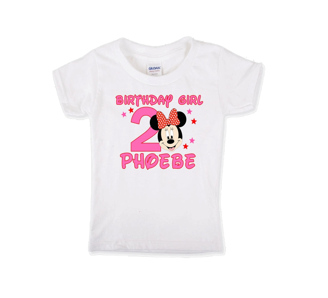 Red Bow Minnie Mouse  Birthday Shirt Girls