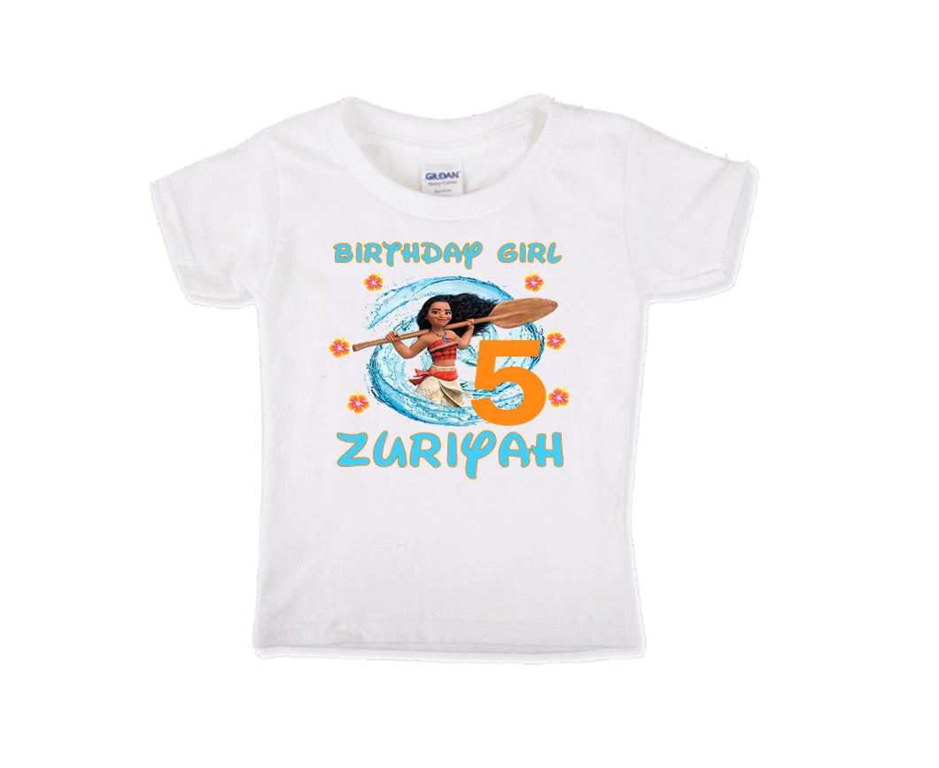 Moana Personalized Birthday Shirt Girls-Disney Princess