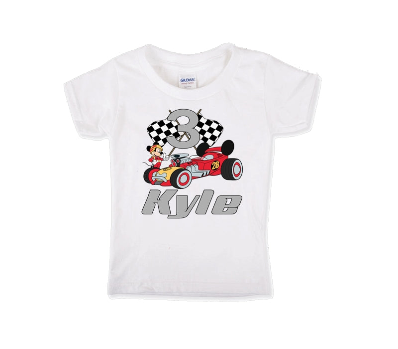Mickey Mouse and the Roadster Racers Personalized Birthday Shirt Boys