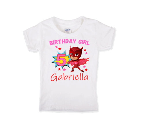 PJ Masks Owlette Personalized Birthday Shirt Girls