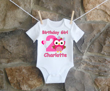 Load image into Gallery viewer, Owl Personalized Birthday Shirt Girls