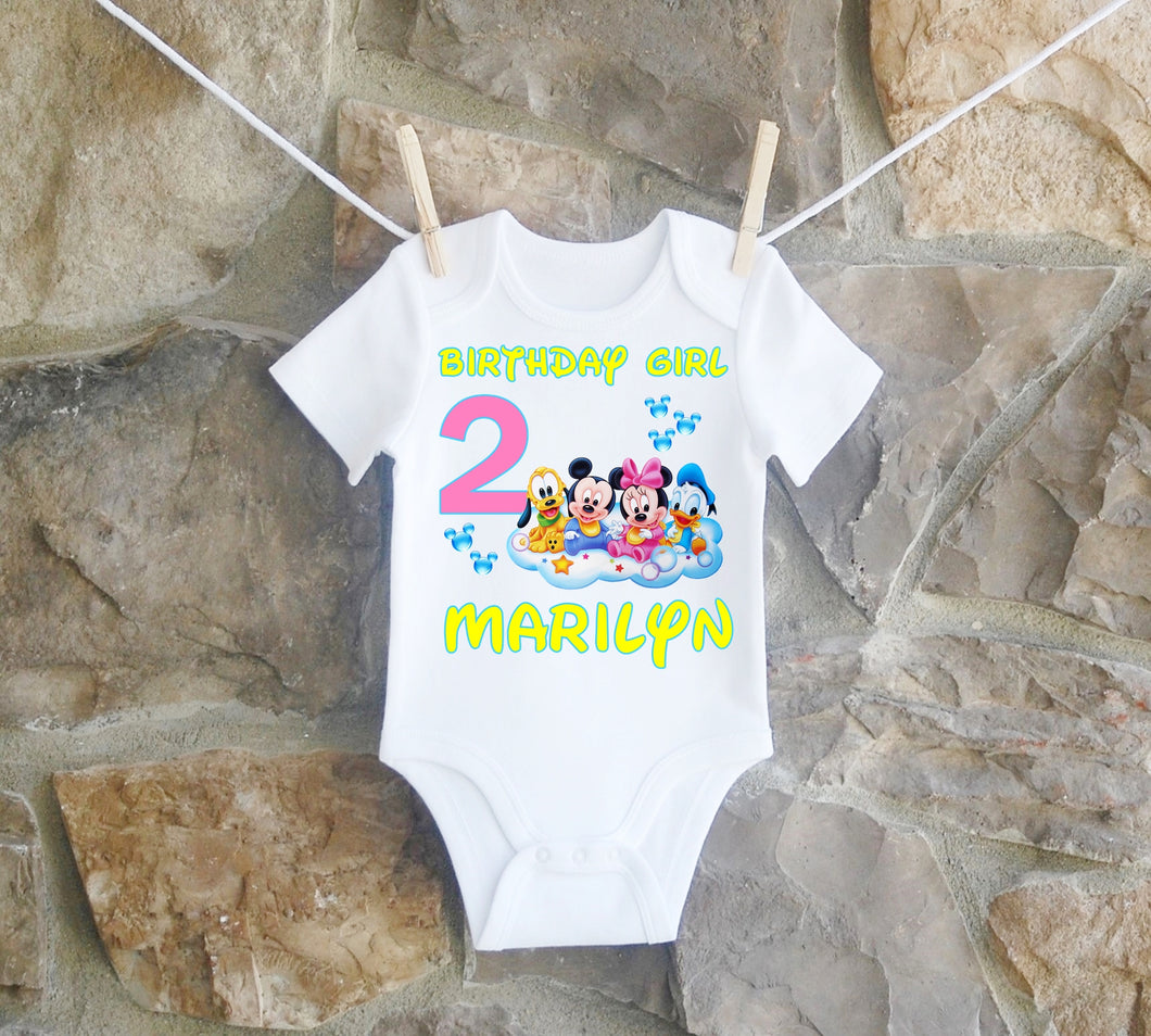 Baby Minnie Mouse and Mickey Mouse Birthday Shirt Girls