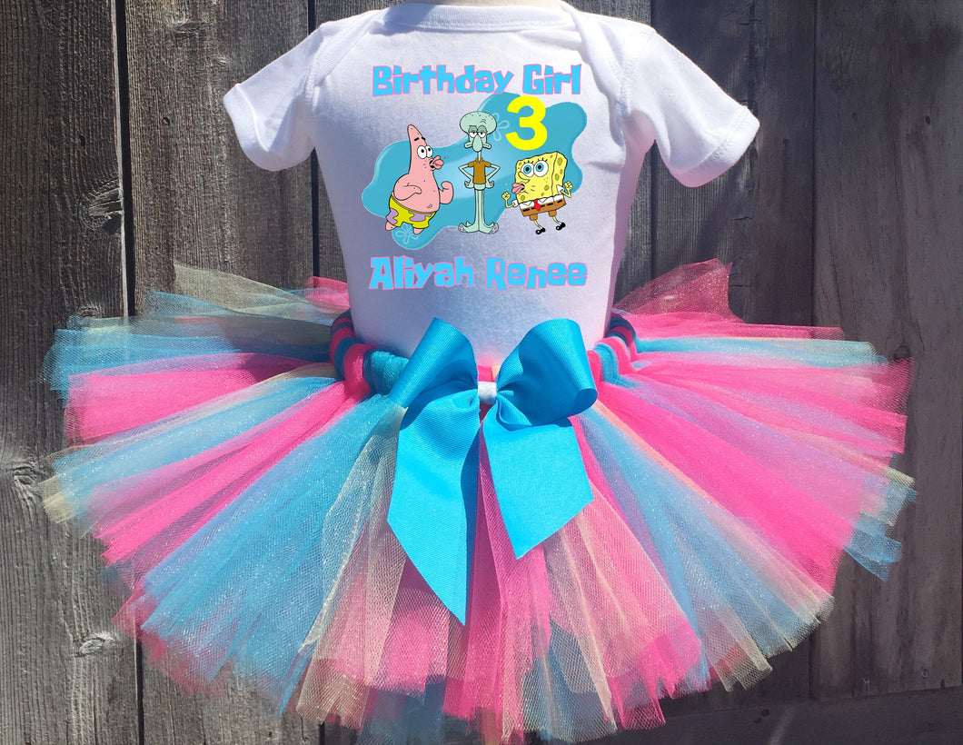 Spongebob Squarepants, Squidward, Patrick Birthday Tutu Outfit-Dress