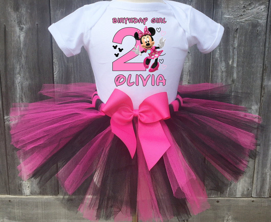Minnie Mouse Customized Pink and Black Birthday Tutu Outfit