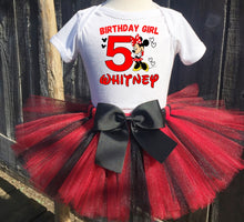 Load image into Gallery viewer, Minnie Mouse Customized Red and Black Birthday Tutu Outfit