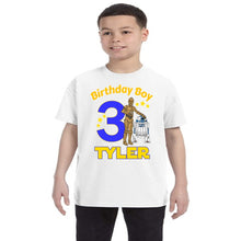 Load image into Gallery viewer, Star Wars R2D2 and C3PO Personalized Birthday Shirt Boys