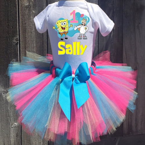 Spongebob Squarepants And Sandy Customized Birthday Tutu Outfit