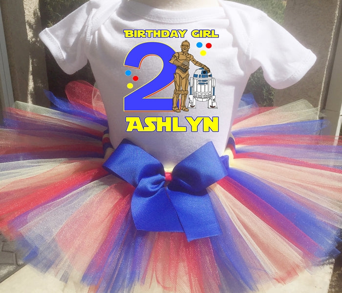 R2D2 And C3PO  Birthday Tutu Outfit- Star Wars
