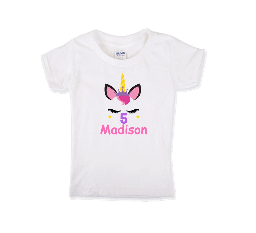 Unicorn Crown Birthday Shirt Girls