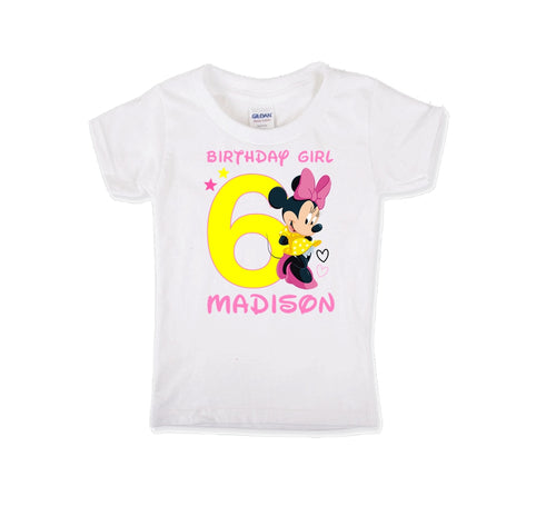 Minnie Mouse Birthday Shirt Girls Pink Stars