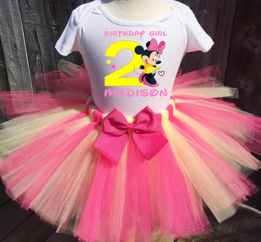 Minnie Mouse Customized Pink And Yellow Birthday Tutu Outfit