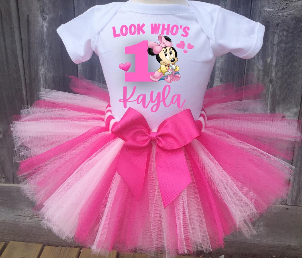 Minnie Mouse Birthday Tutu Outfit set for baby girls