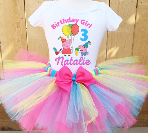 Peppa The Pig Birthday Tutu Outfit Dress Set