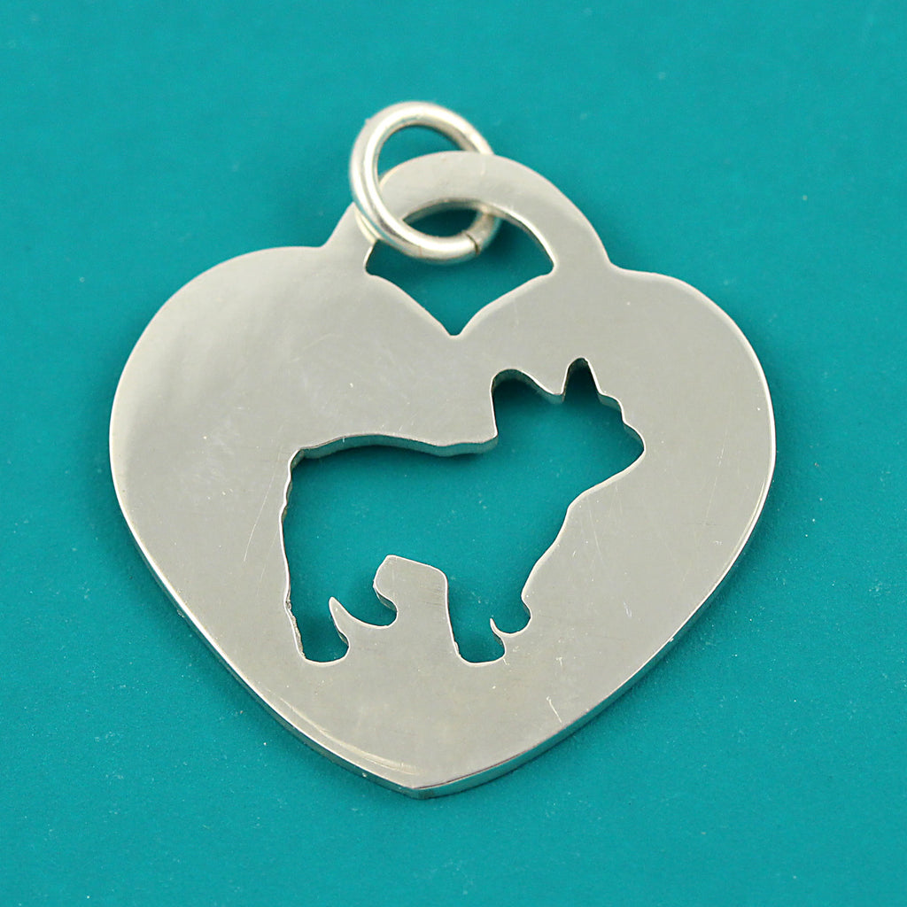 French Bulldog Heart Charm or Pendant