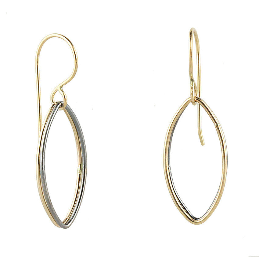 14k Gold and Silver Accent Dangles