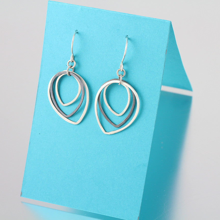 Two-Toned Teardrop Shape Sterling Dangles Forged