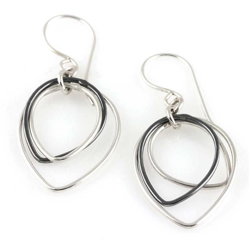 Two-Toned Teardrop Shape Sterling Dangles