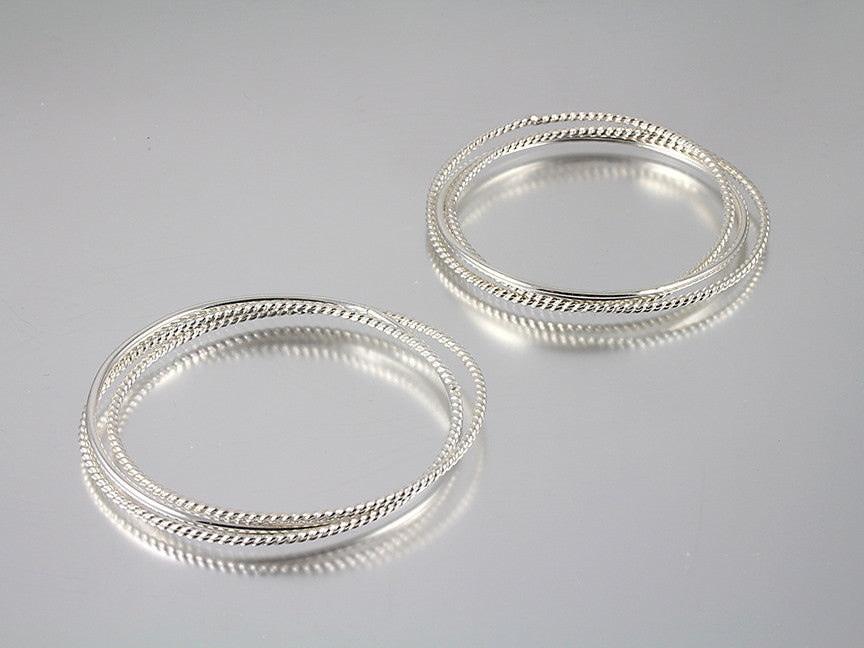 Tripe Interlocked Sterling Bangles