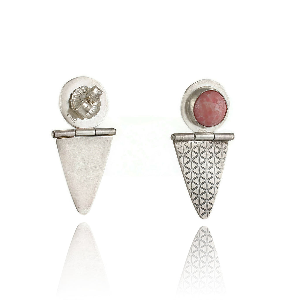 Hinged Ear Studs with Pink Glass Bead