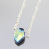 Czech Glass Blue Green Leaf Pendant