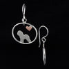 Bichon Frise Dangle Earrings with Heart ♥