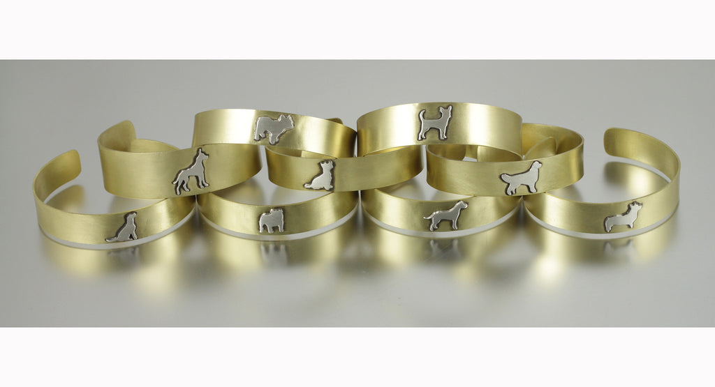 Adjustable Brass Dog Breed Silhouette Cuff