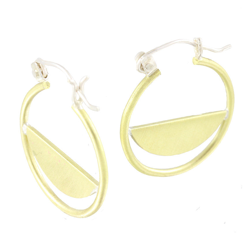 Brass Hoop Half Slice Hinge Earrings