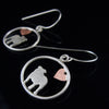 English Bulldog Dangle Earrings with Heart ♥
