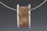 Circle Textured Copper and Sterling Bridge Pendant