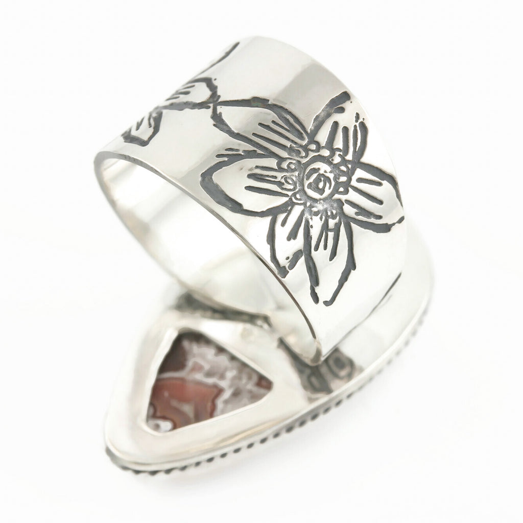 Colorful Lace Agate Ring with Floral