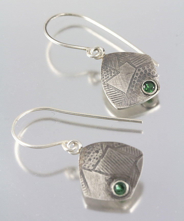 Textured Emerald Dangles