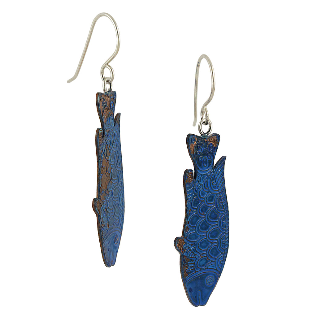 Artful Blue Fish Copper Dangles