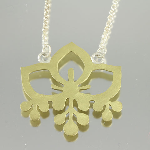Flower Pendant: Brass Pattern Cutout