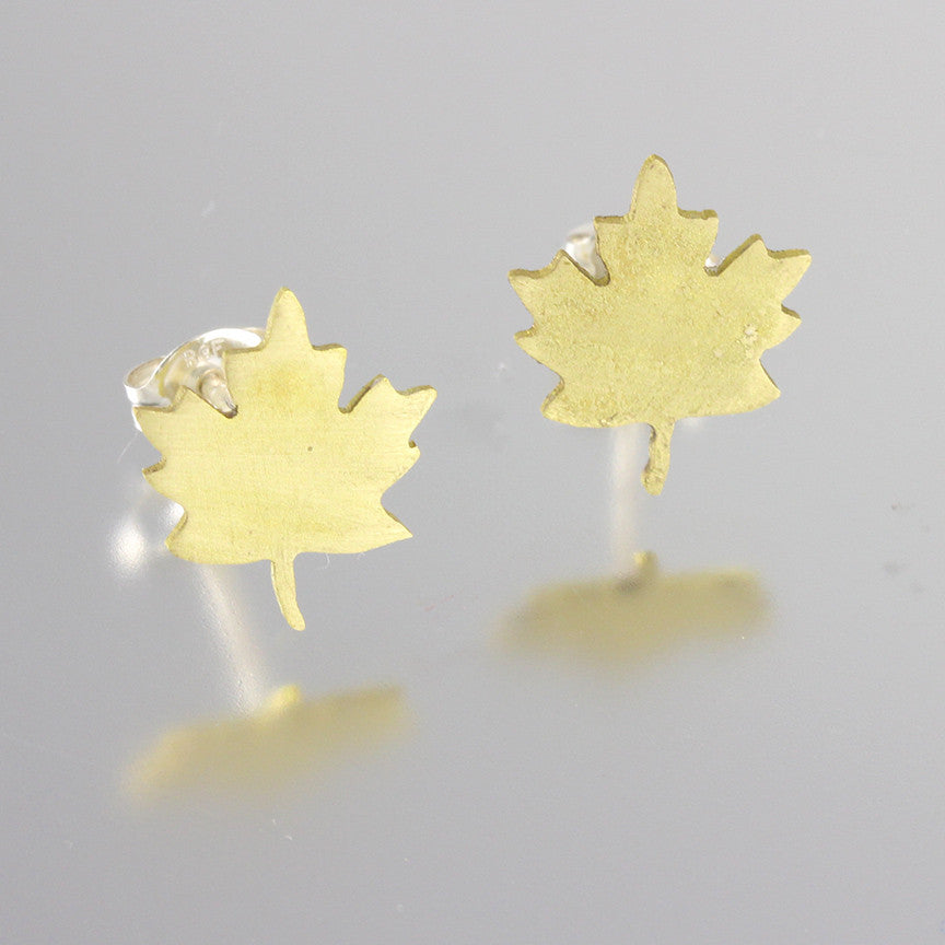 Foliage Brass Leaf Studs