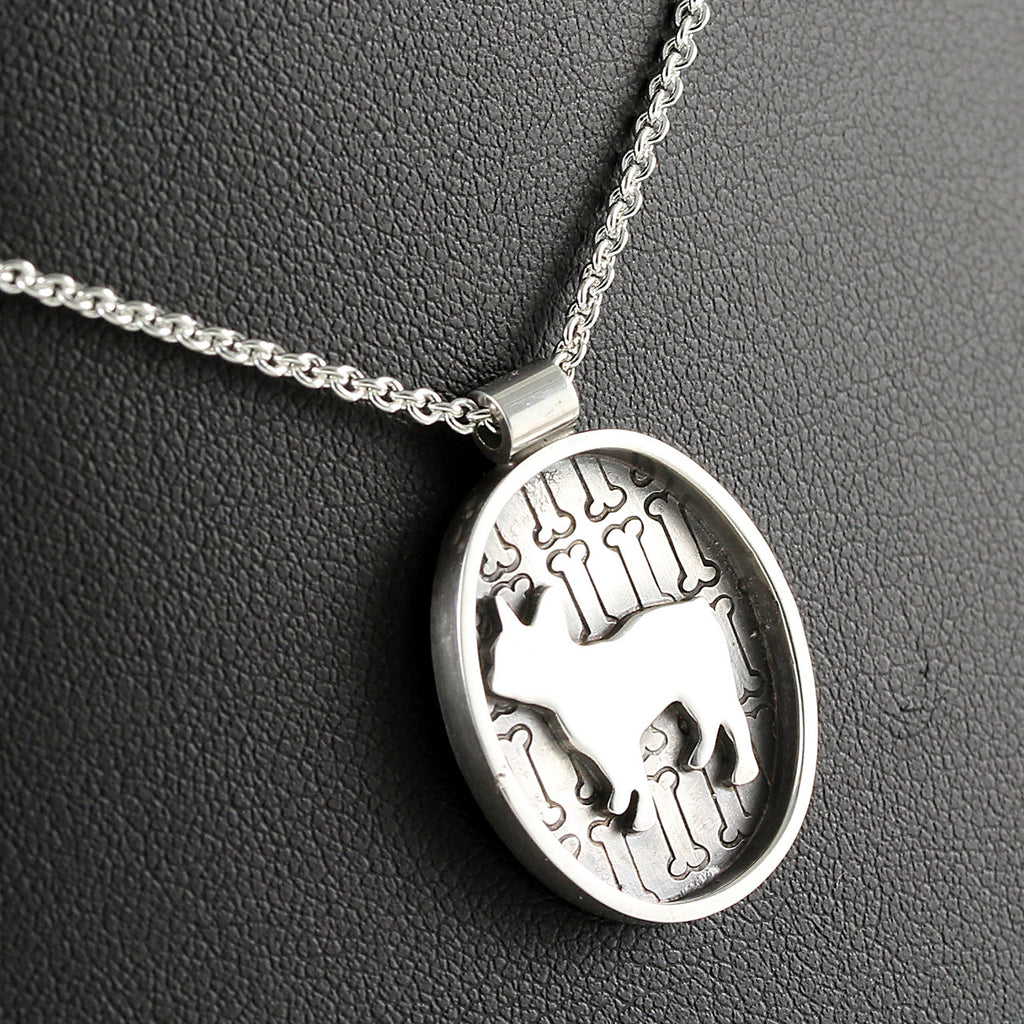 French Bulldog Silhouette Oval Portrait Pendant