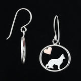 German Shepherd Dangle Earrings with Heart ♥