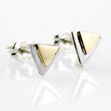 Sterling Silver with 14k Gold Accent Triangle Ear Studs