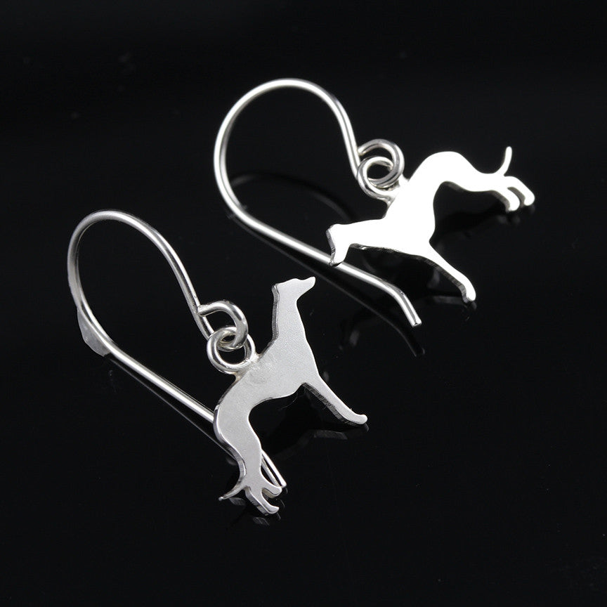 Greyhound Silhouette Dangle Earrings