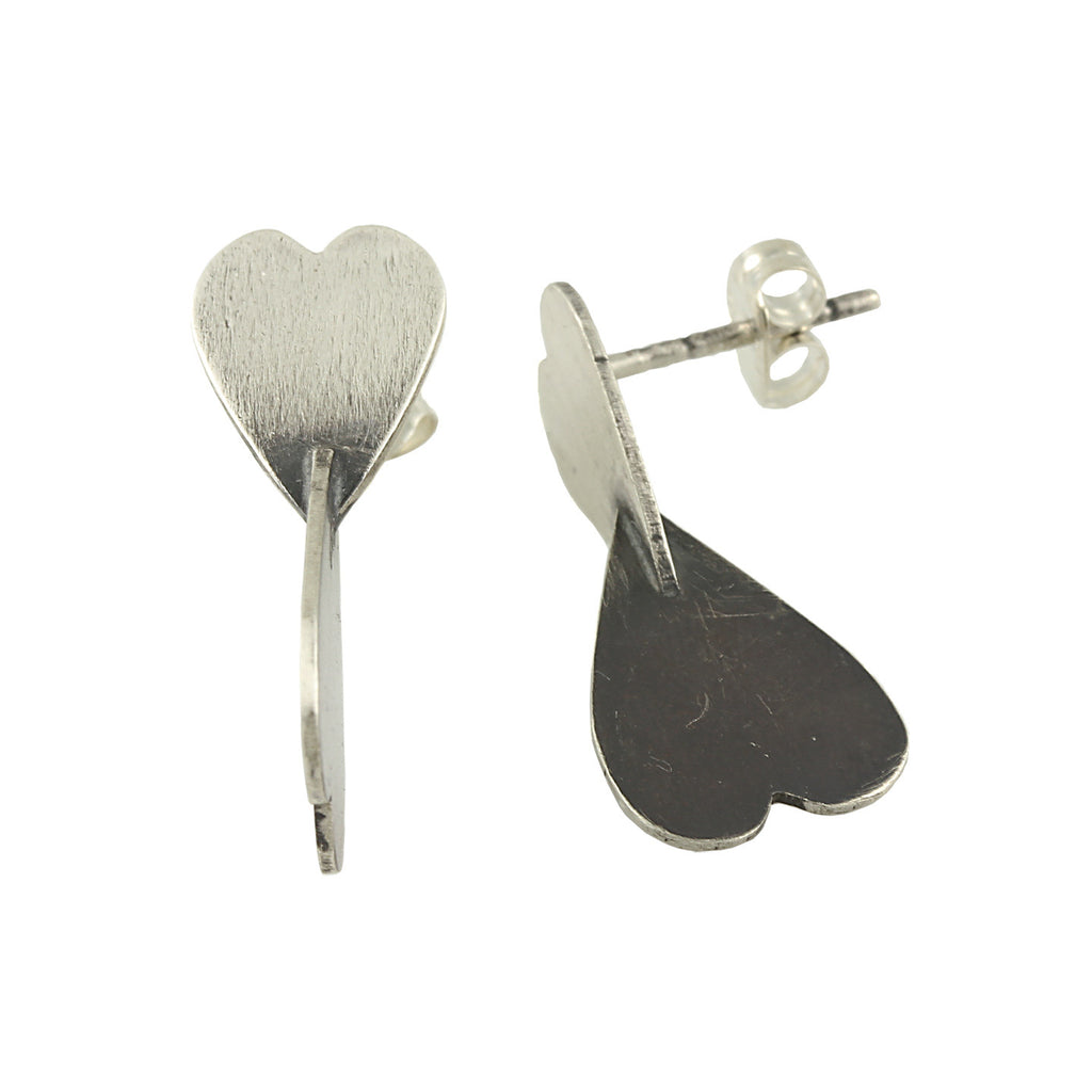 Two-Tone 3D Heart Studs