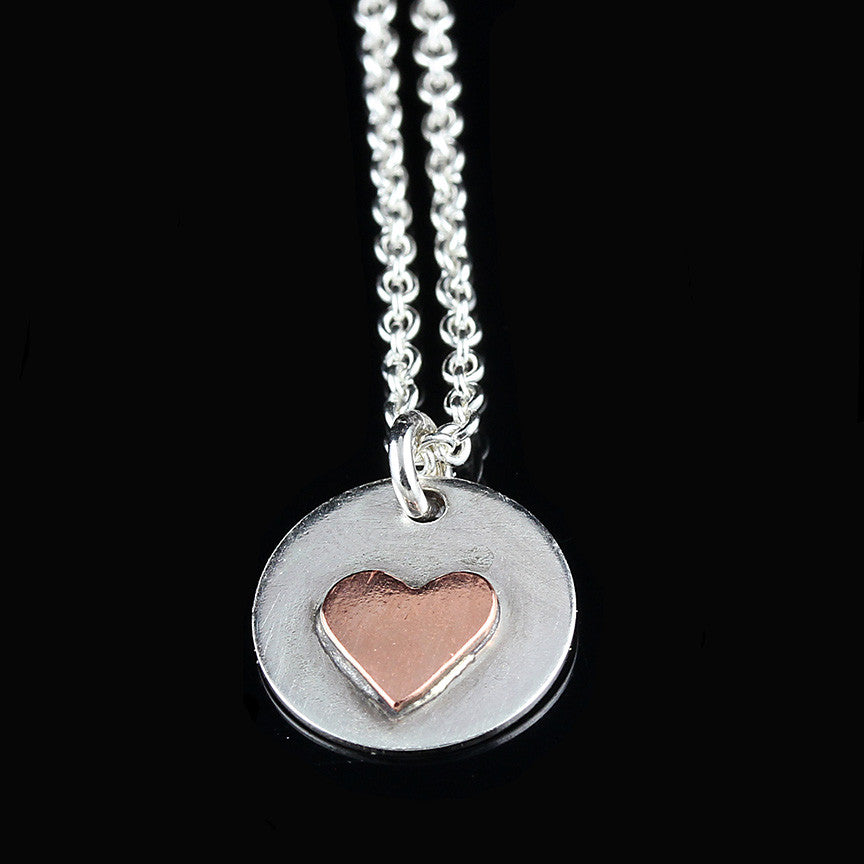 Copper Heart on Silver Base Necklace
