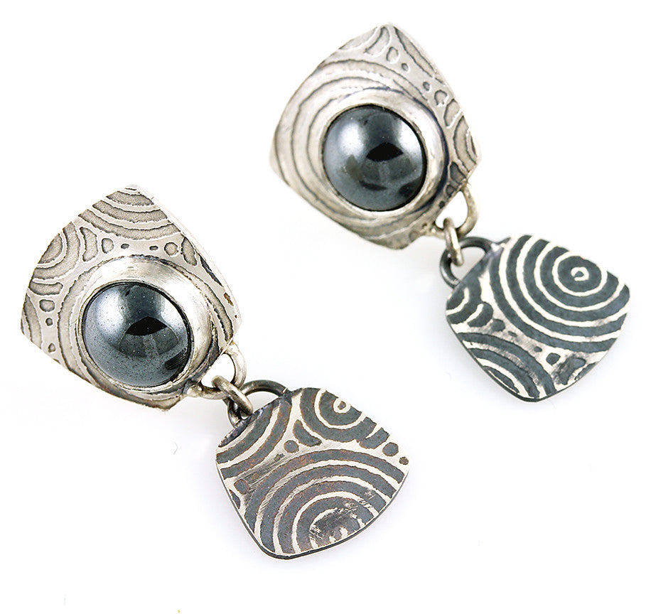 Hematite Art Deco Drop Free-Flowing Studs