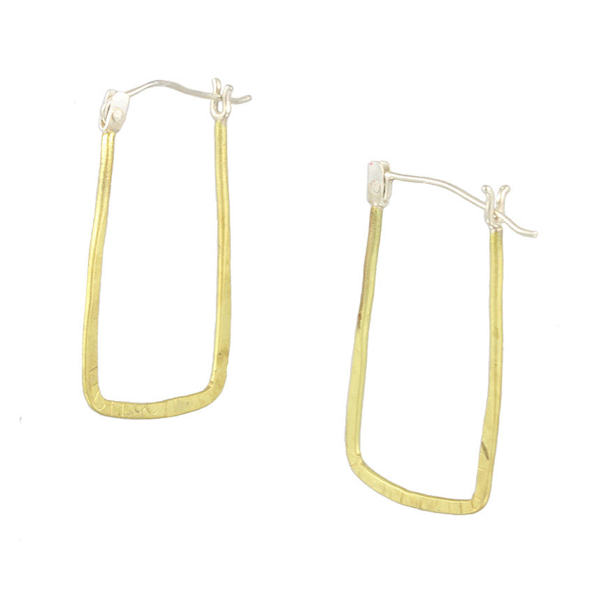 Brass Rectangle Hoop Wire Hinge Earrings