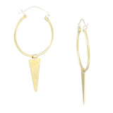 Brass Hoop Free-Flowing Triangle Hinge Earrings