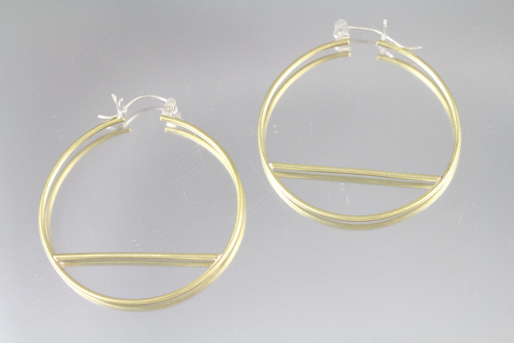 Brass Hoop Wire Hinge Earrings