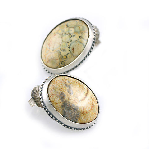 Jasper Dangle Studs Forest Back