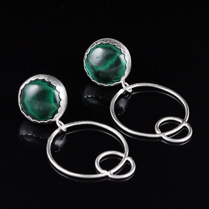 Malachite Studs with Circle Hoops