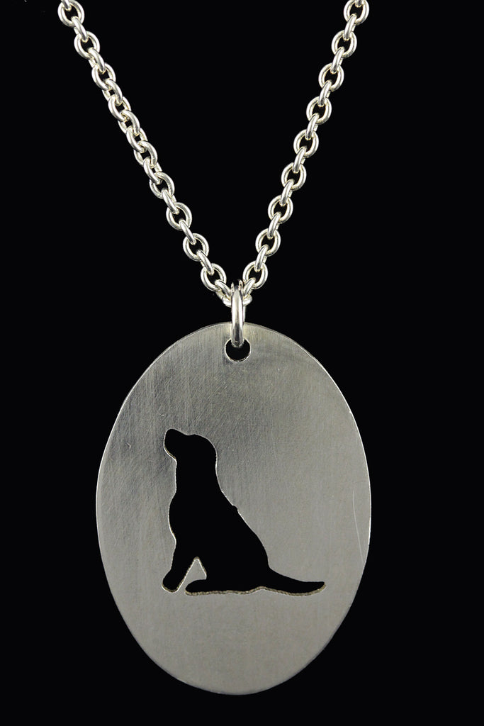 Mutt Rescue Sitting Dog Silhouette Oval Pendant