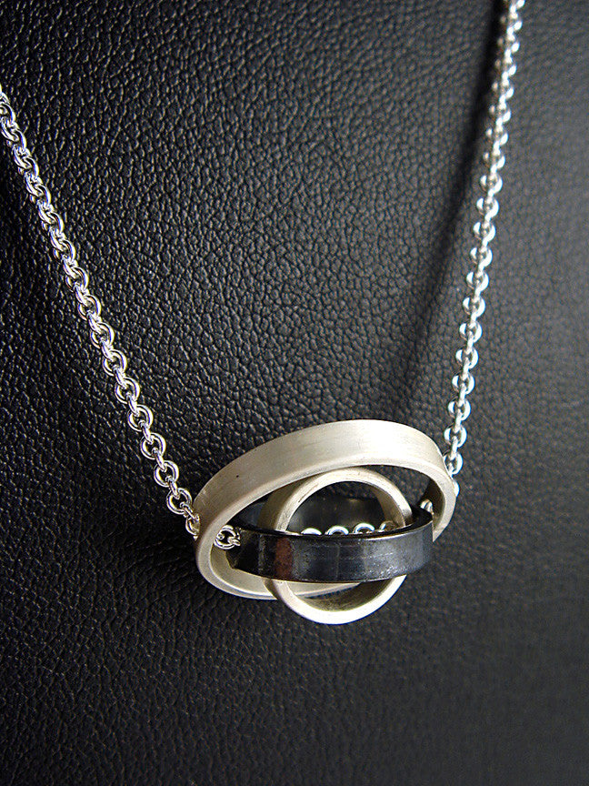 O.C.D. Small Circle Grayscale Necklace SOS